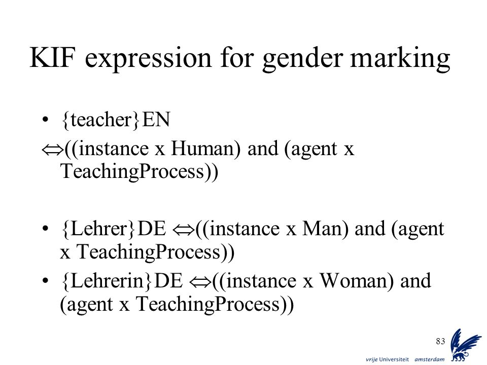 KIF expression for gender marking
