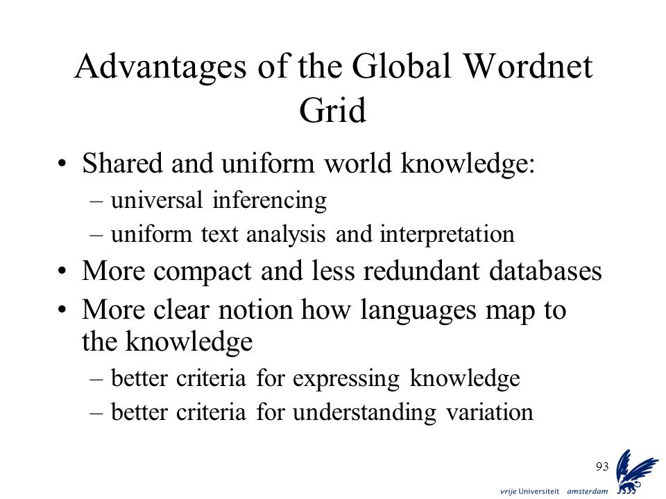 Advantages of the Global Wordnet Grid