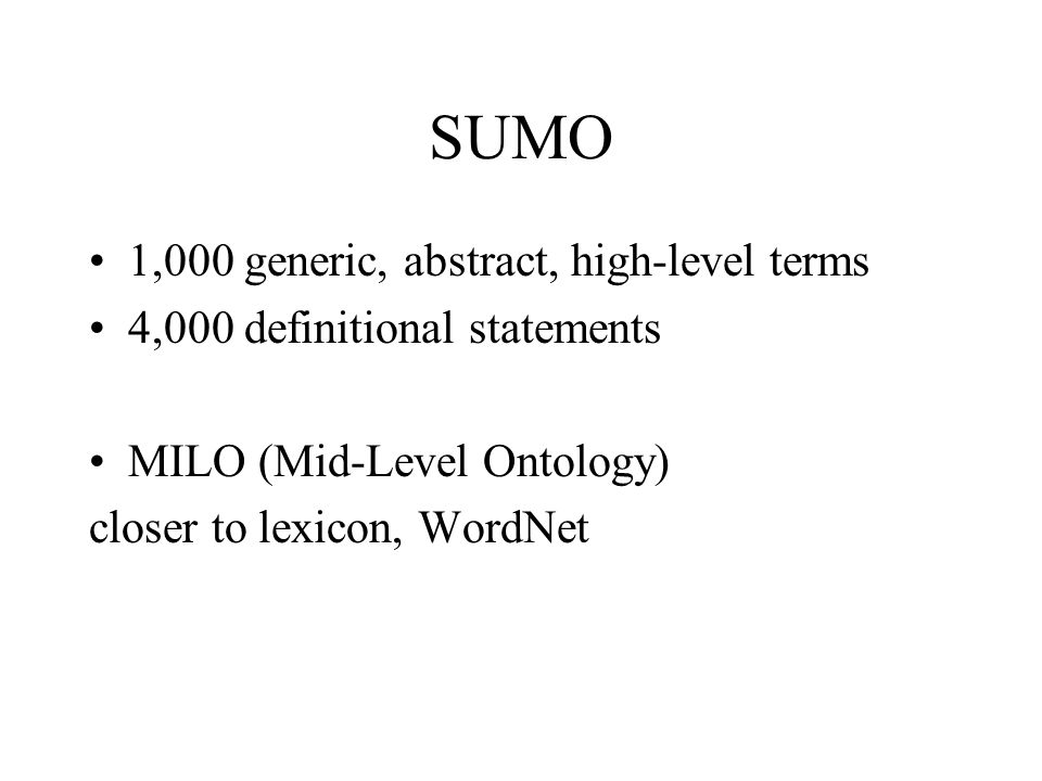 SUMO 1,000 generic, abstract, high-level terms