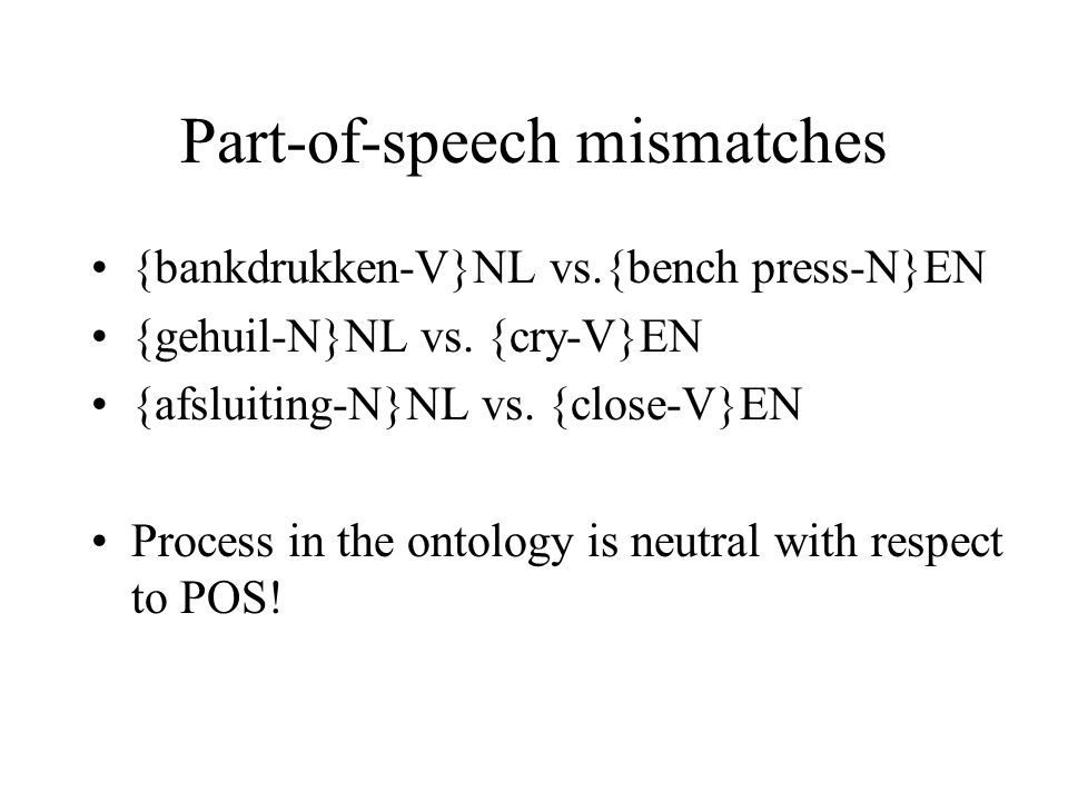Part-of-speech mismatches