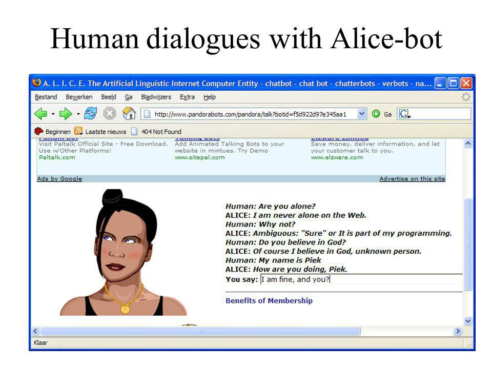 Human dialogues with Alice-bot