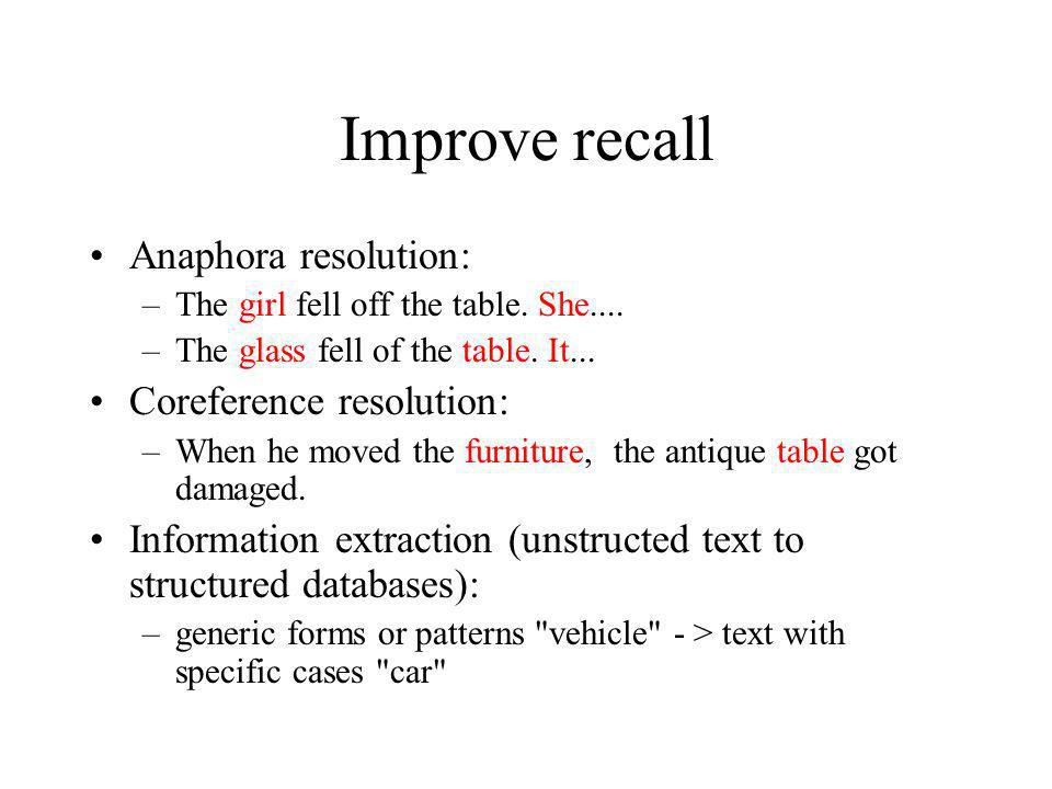 Improve recall Anaphora resolution: Coreference resolution: