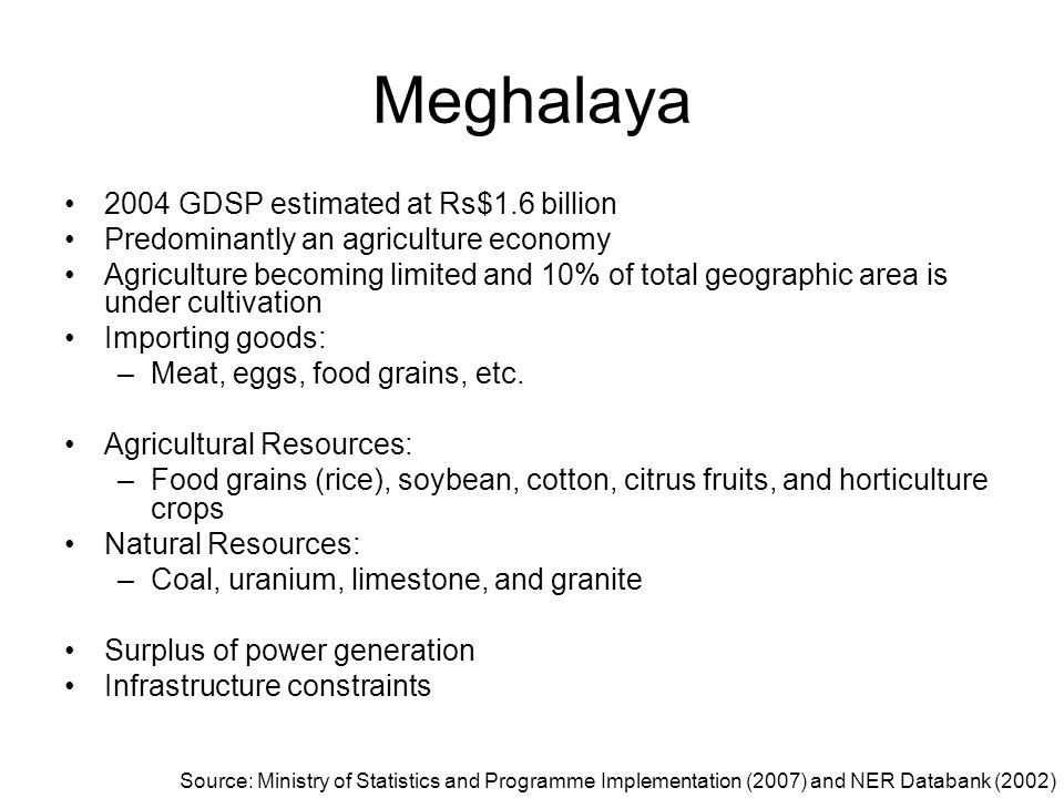 Meghalaya 2004 GDSP estimated at Rs$1.6 billion