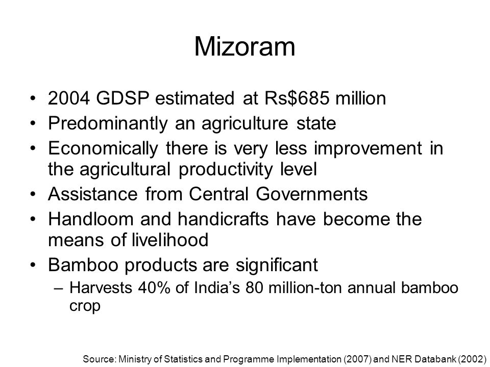Mizoram 2004 GDSP estimated at Rs$685 million