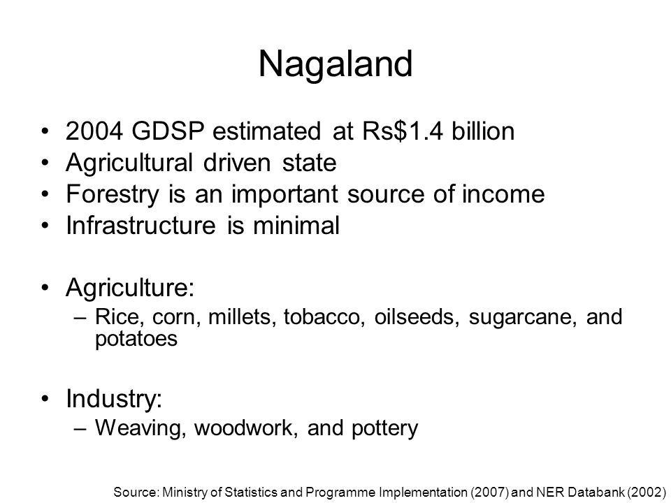 Nagaland 2004 GDSP estimated at Rs$1.4 billion