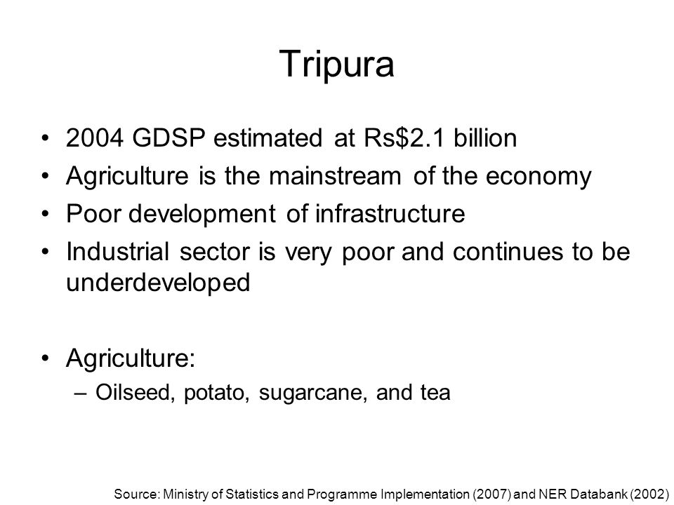 Tripura 2004 GDSP estimated at Rs$2.1 billion