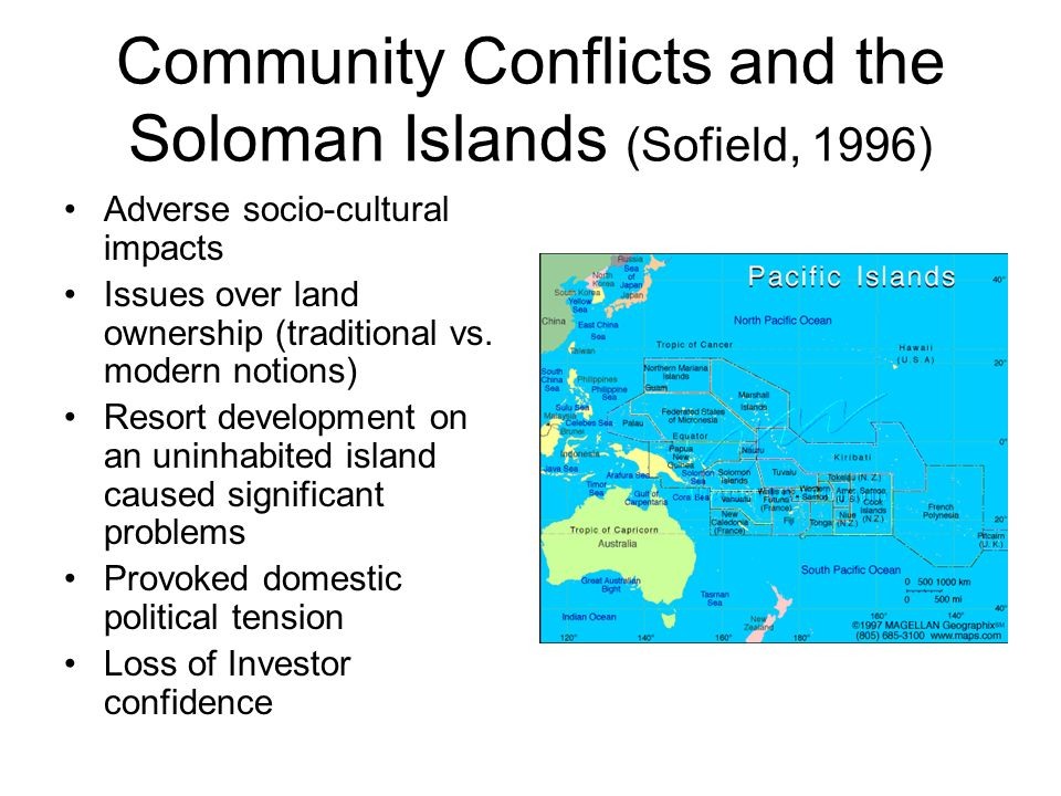Community Conflicts and the Soloman Islands (Sofield, 1996)