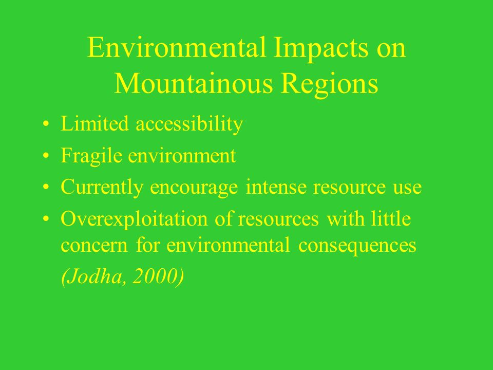 Environmental Impacts on Mountainous Regions