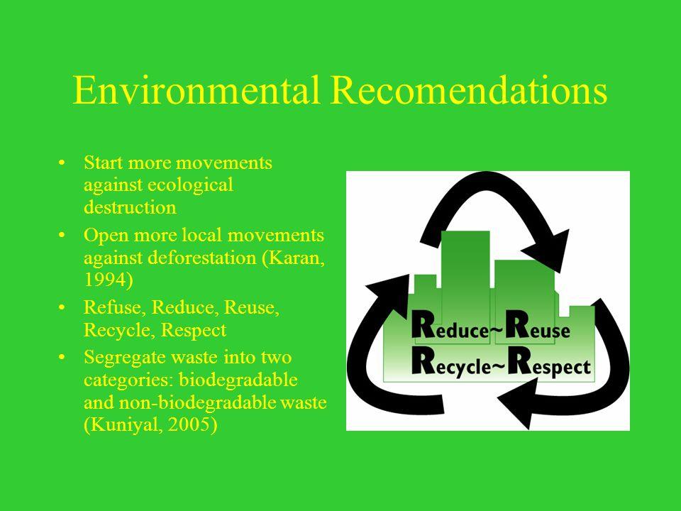 Environmental Recomendations
