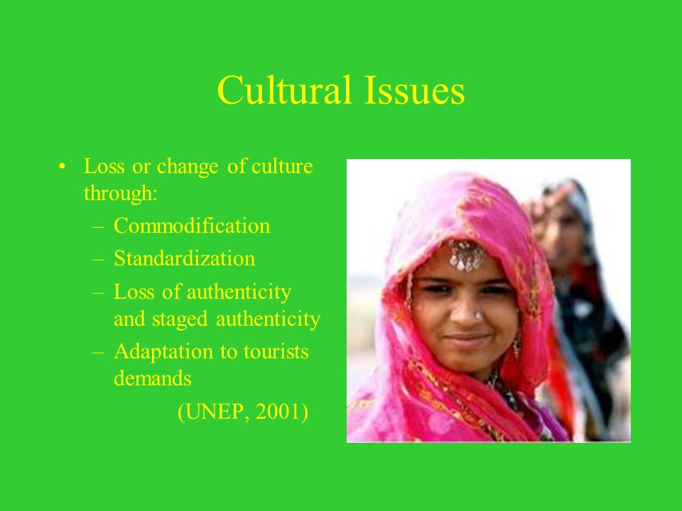 Cultural Issues Loss or change of culture through: Commodification