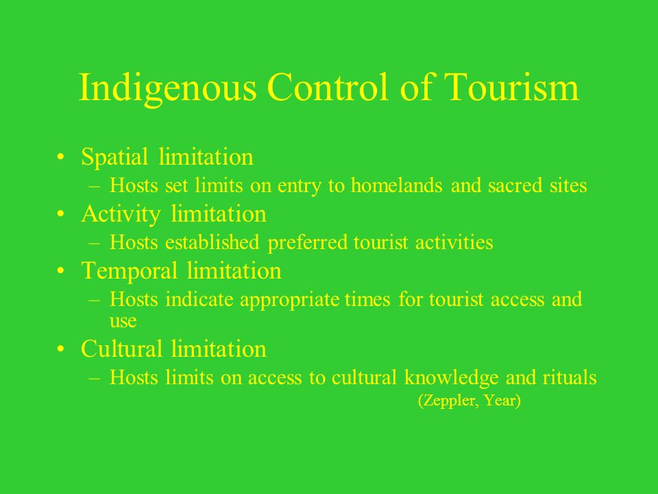 Indigenous Control of Tourism