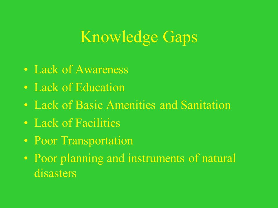 Knowledge Gaps Lack of Awareness Lack of Education