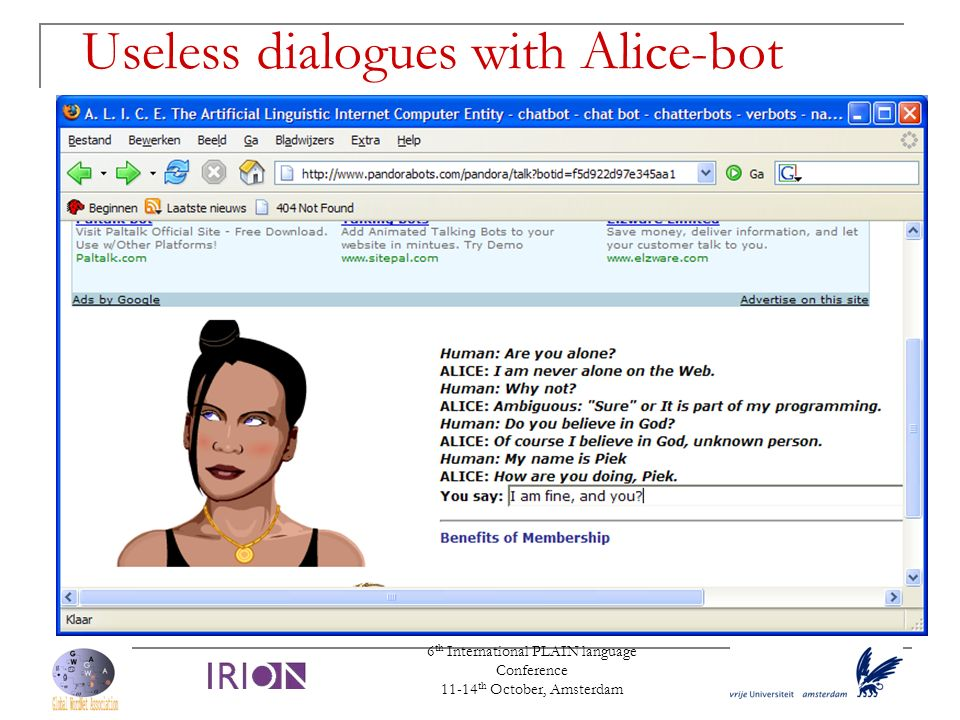 Useless dialogues with Alice-bot