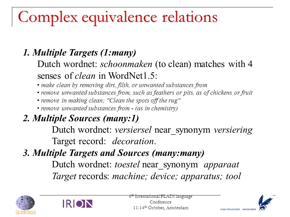 Complex equivalence relations