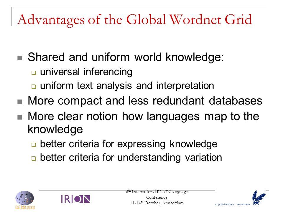 Advantages of the Global Wordnet Grid