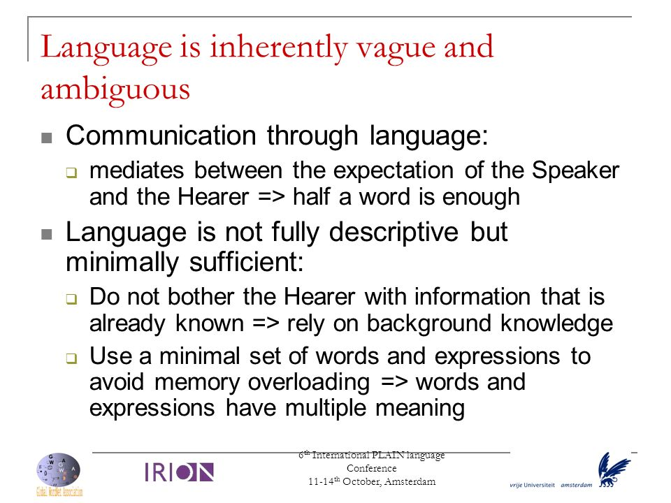 Language is inherently vague and ambiguous