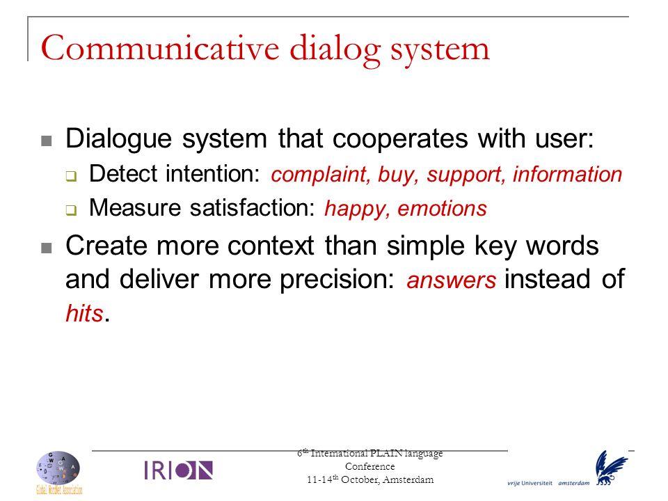 Communicative dialog system