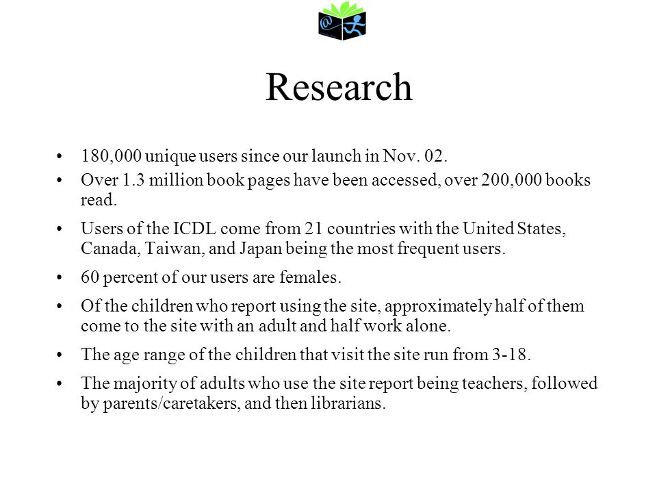 Research 180,000 unique users since our launch in Nov. 02.