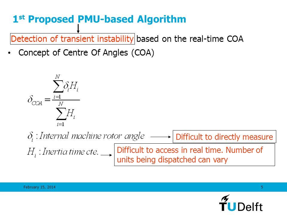 1st Proposed PMU-based Algorithm