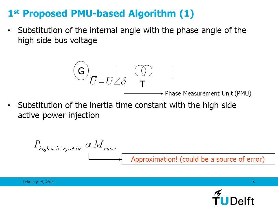1st Proposed PMU-based Algorithm (1)
