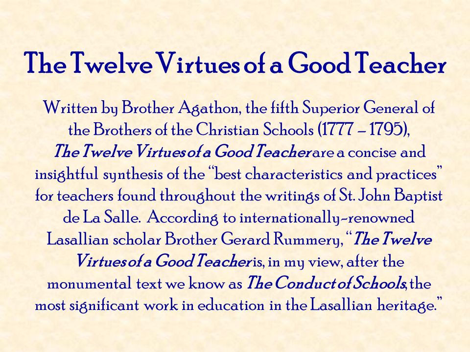 The Twelve Virtues of a Good Teacher