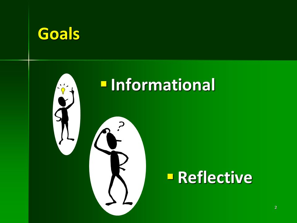Goals Informational Reflective Informational The Founder