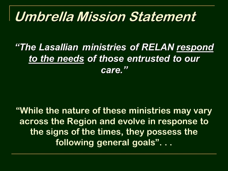 Umbrella Mission Statement