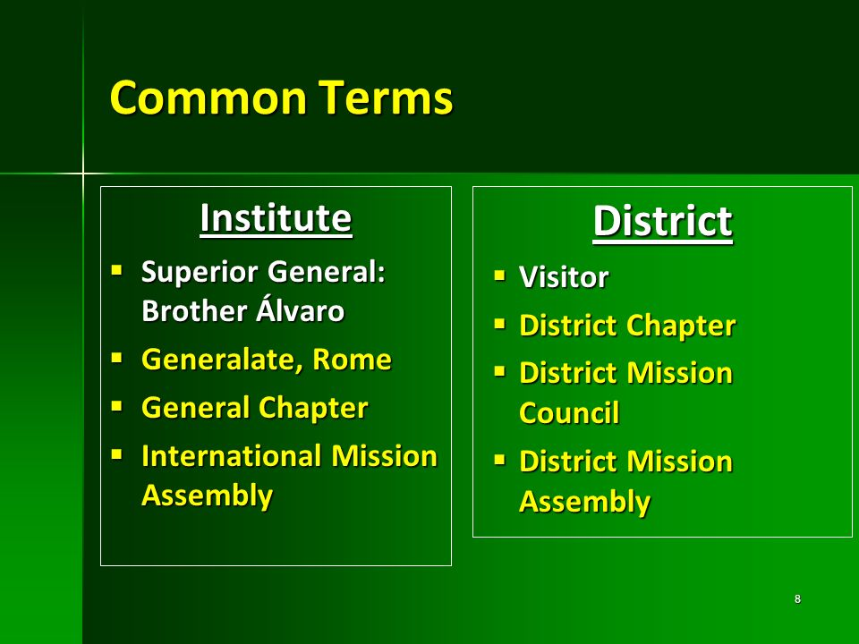 Common Terms District Institute Superior General: Brother Álvaro