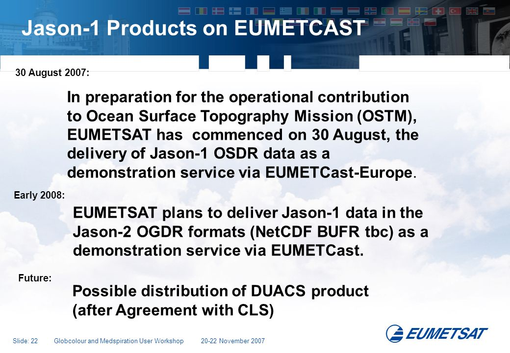 Jason-1 Products on EUMETCAST