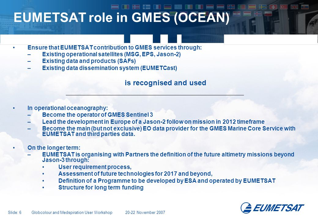 EUMETSAT role in GMES (OCEAN)