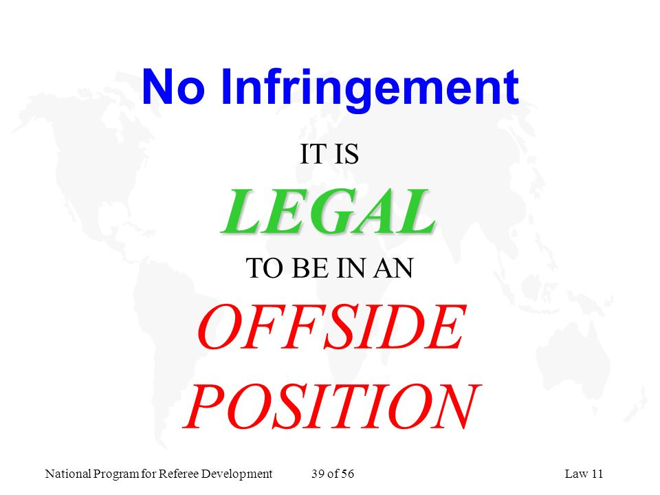 No Infringement IT IS LEGAL TO BE IN AN OFFSIDE POSITION