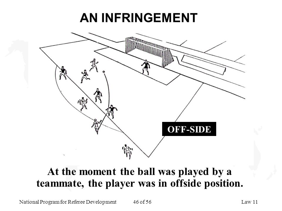 AN INFRINGEMENT At the moment the ball was played by a