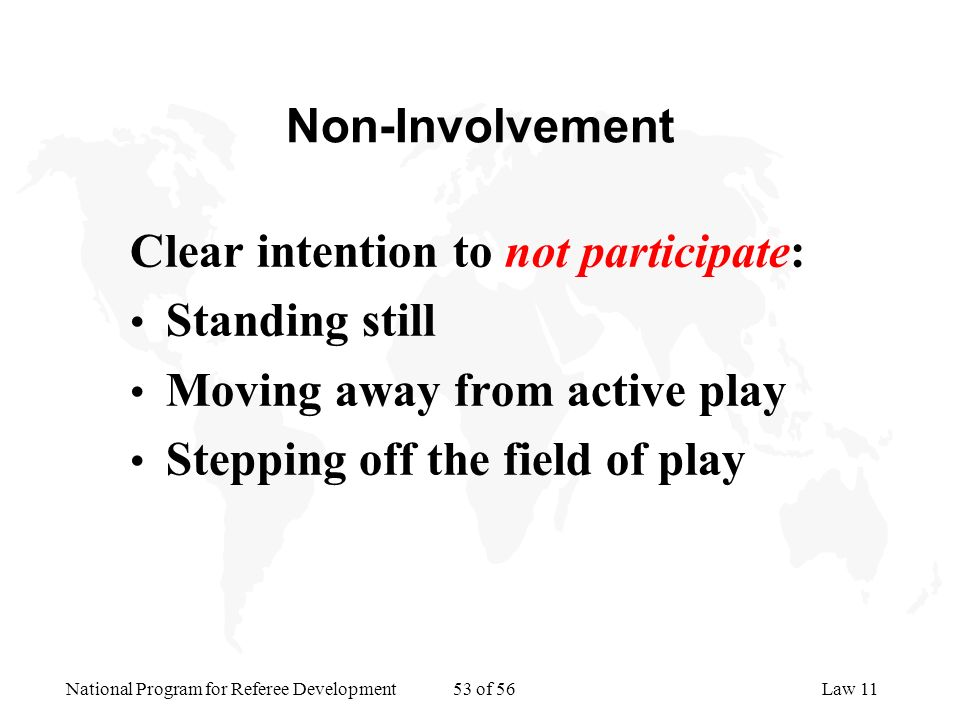 Non-Involvement Clear intention to not participate: Standing still. Moving away from active play.