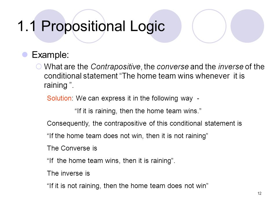 1.1 Propositional Logic Example: