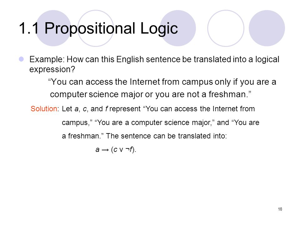 1.1 Propositional Logic Example: How can this English sentence be translated into a logical expression