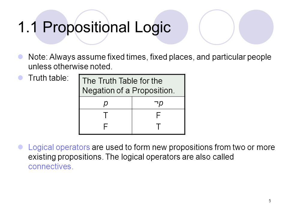 1.1 Propositional Logic Note: Always assume fixed times, fixed places, and particular people unless otherwise noted.