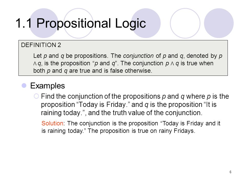 1.1 Propositional Logic Examples