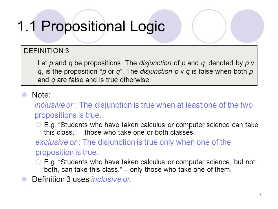 1.1 Propositional Logic Note: