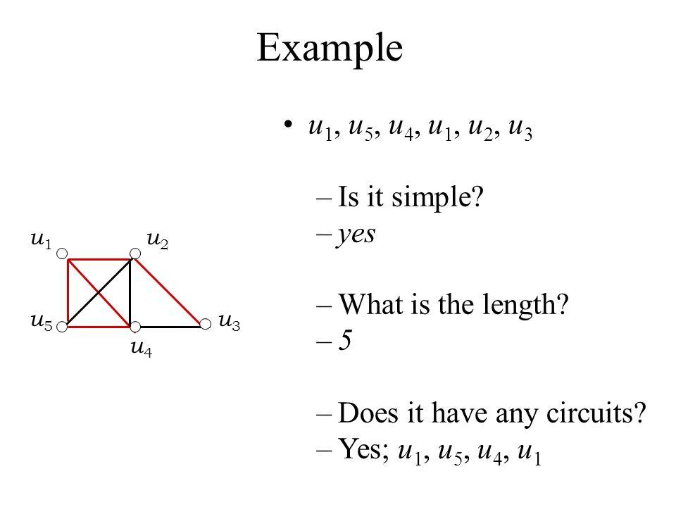 Example u1, u5, u4, u1, u2, u3 Is it simple yes What is the length 5