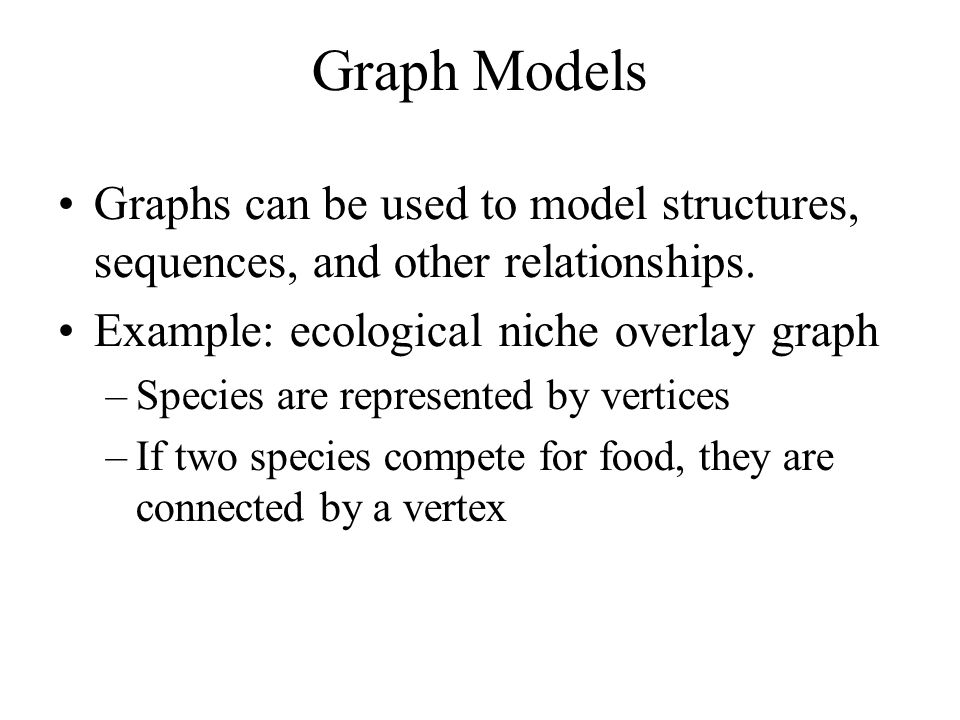 Graph Models Graphs can be used to model structures, sequences, and other relationships. Example: ecological niche overlay graph.