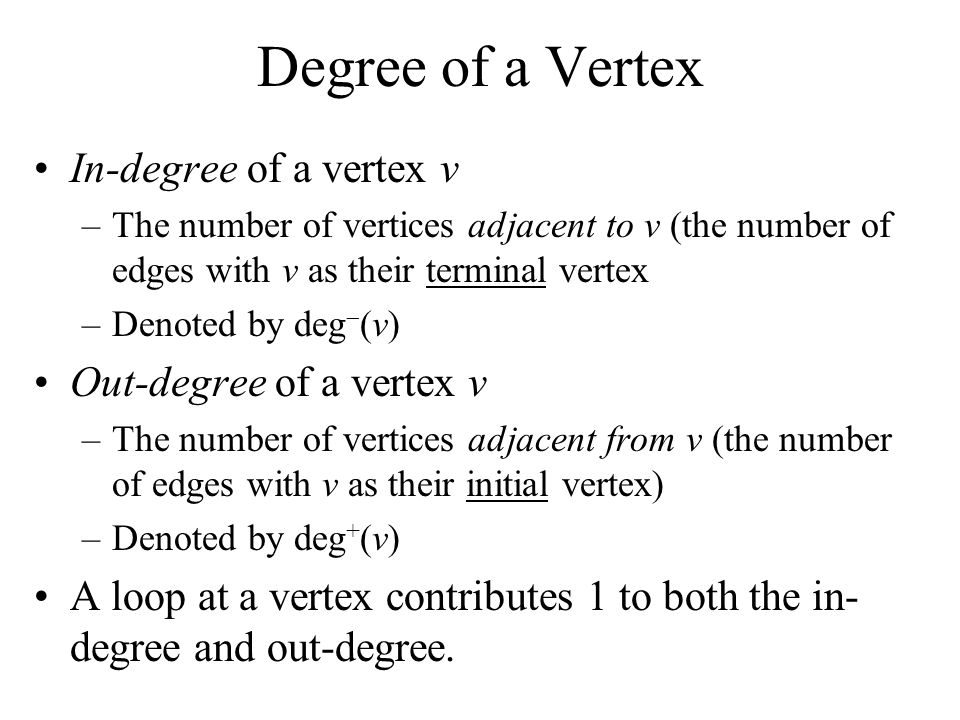 Degree of a Vertex In-degree of a vertex v Out-degree of a vertex v