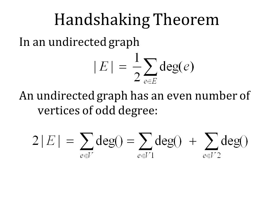 Handshaking Theorem In an undirected graph