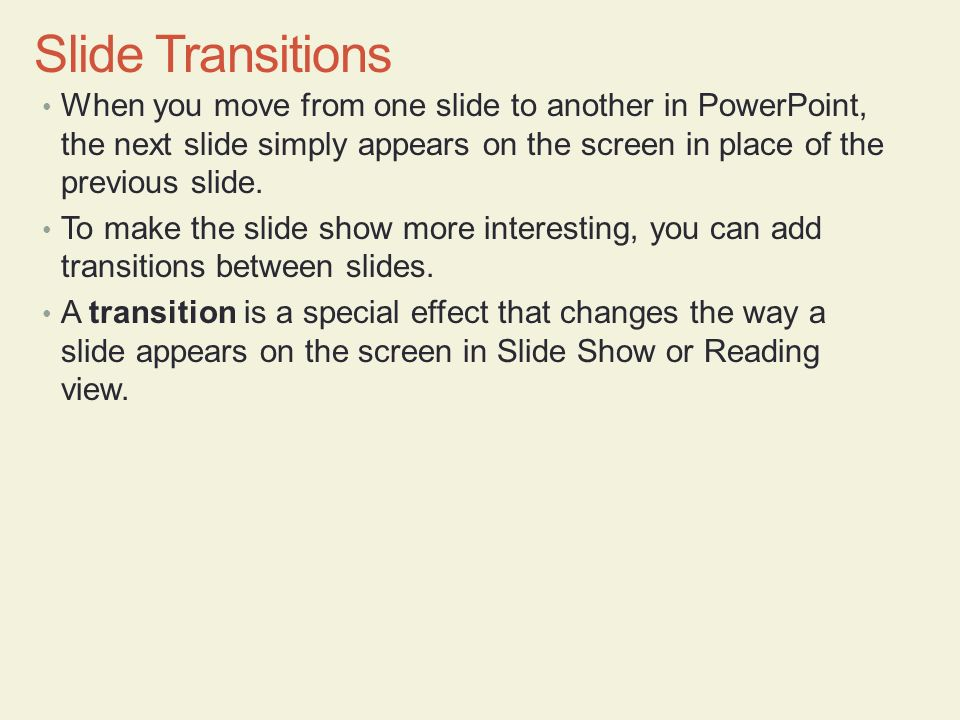 how to make transition text in powerpoint