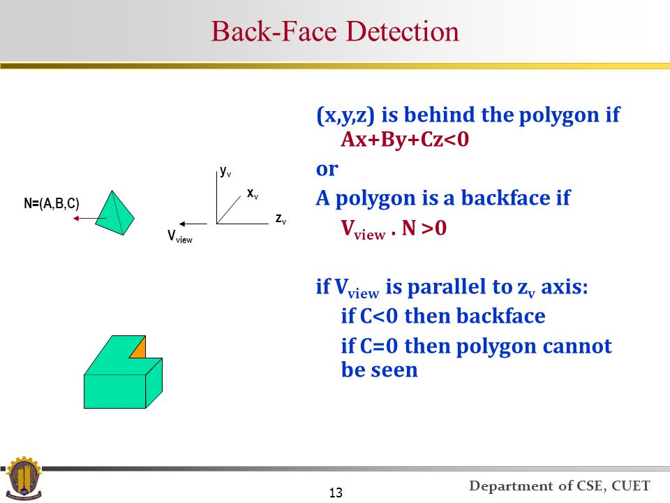 Back-Face Detection (x,y,z) is behind the polygon if Ax+By+Cz<0 or
