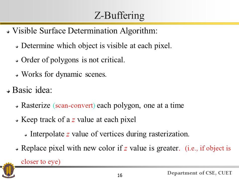 Z-Buffering Basic idea: Visible Surface Determination Algorithm: