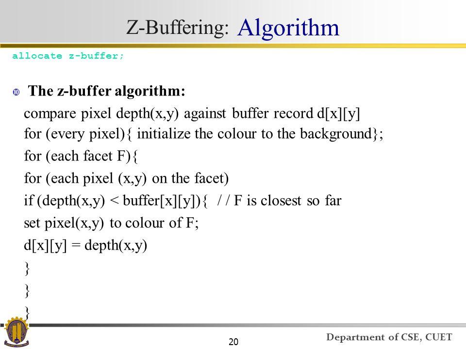 Z-Buffering: Algorithm