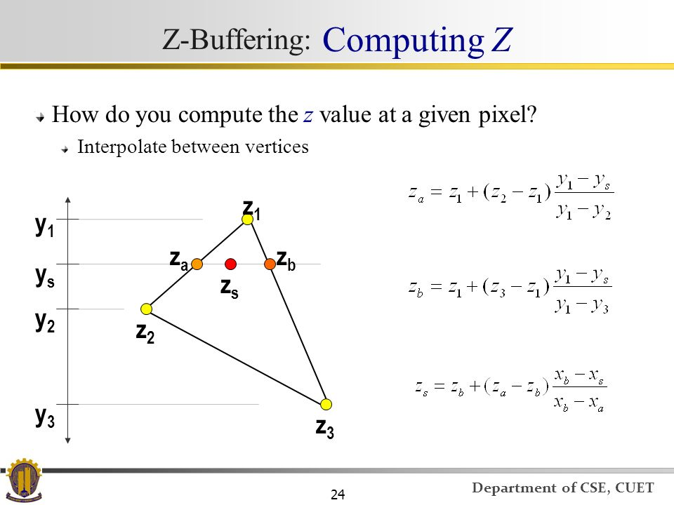 Z-Buffering: Computing Z