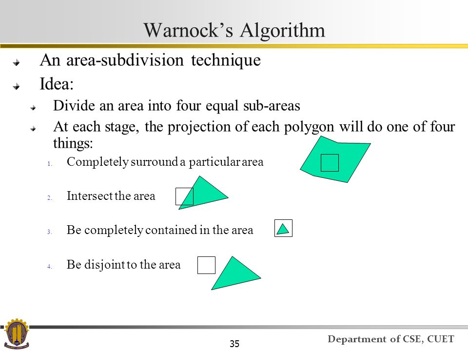 Warnock's Algorithm An area-subdivision technique Idea:
