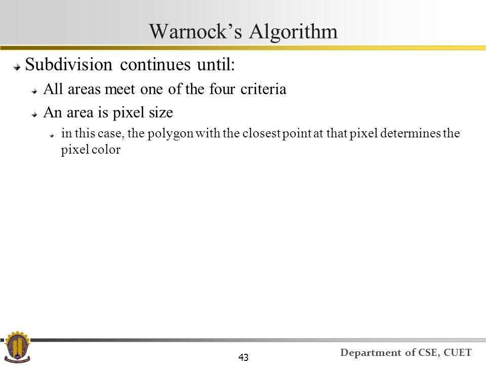Warnock's Algorithm Subdivision continues until: