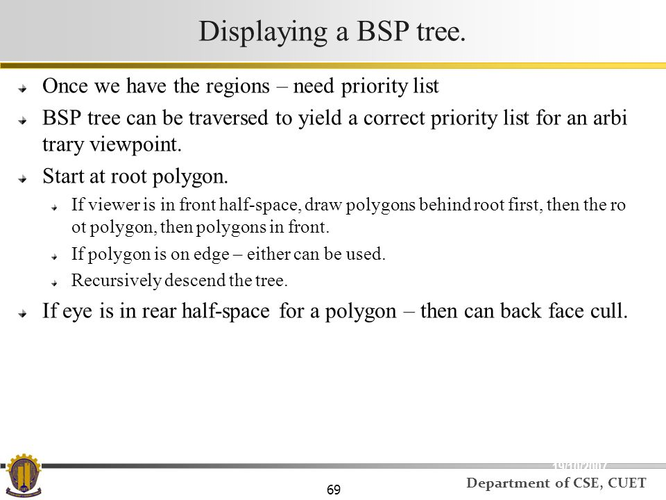 Displaying a BSP tree. Once we have the regions – need priority list
